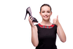 The woman with shoe isolated on white Royalty Free Stock Photos