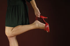 Woman and shoe Stock Photo
