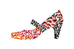 Woman shoe shape made of  shoes Stock Photography