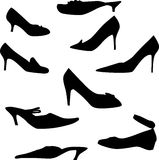 Woman shoe silhouettes set Stock Photo
