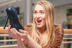 Woman and shoe. Women loves shoes concept Stock Images
