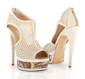Woman shoes. High heel Woman shoes on white background Royalty Free Stock Images