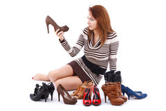 Woman and shoes Stock Image
