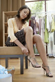 Woman with Shoes Stock Photo