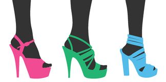 Woman Shoes. Silhouette of different models of women's shoe Royalty Free Stock Images