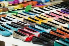 Woman shoes at apparel shop Royalty Free Stock Photos