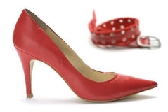 Woman shoes and belt Stock Photos