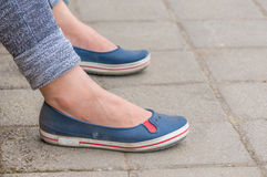 Woman shoes. Woman blue causaul shoes, Thailand Stock Photos