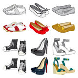 Woman Shoes Collection. Collection of six pairs of woman shoes on black and white and color version isolated on white background Stock Image