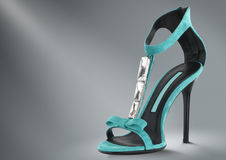 Woman shoes concept. Woman summer shoe concept on grey Stock Image