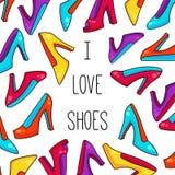 Woman shoes doodle colorful vectyor illustration. I love shoes doodle colorful woman high heel shoes vector illustration Royalty Free Stock Photo