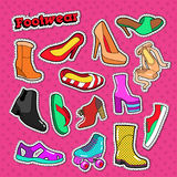 Woman Shoes Fashion Stickers. Female Footwear Badges and Patches Set Royalty Free Stock Photography