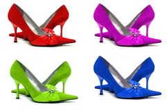 Woman shoes of four different. Colors  isolated on white Royalty Free Stock Image