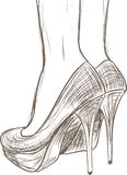 Shoes sketch. Woman shoes hand drown sketch Royalty Free Stock Photography