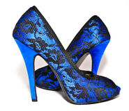 Woman shoes with high heels. Beautiful blue woman shoes with high heels Stock Photo
