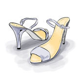 Woman shoes with high heels. Fashion illustration Stock Photos