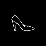 Woman shoes icon. Woman shoes line icon, shopping, pump shoes vector graphics, a linear pattern on a black background, eps 10 Royalty Free Illustration