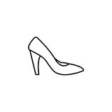 Woman shoes icon. Woman shoes line icon, shopping, pump shoes vector graphics, a linear pattern on a white background, eps 10 Stock Illustration