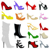 Woman shoes icon set Stock Image