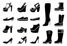 Woman shoes icons set Royalty Free Stock Photos