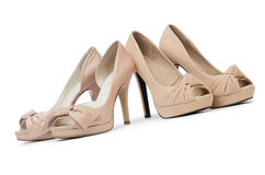 Woman shoes isolated on the white background Stock Photos