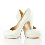Woman shoes isolated on white. Nice woman shoes Stock Images