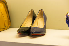 Woman shoes. Luxury and fashionable brand new interior of woman shoes store Stock Photo