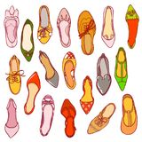 Woman shoes pattern. Vector texture of different footwear.  Royalty Free Stock Photos