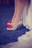 Woman shoes with red heart Royalty Free Stock Photography