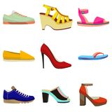 Woman Shoes Set. Colorful Shoes in Cartoon Style for Banners and Fliers. Vector Illustration of Diffrent Types of Shoes Stock Images