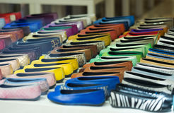 Woman shoes   at shelves of apparel store Royalty Free Stock Photos