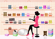 Woman in shoes shop. Illustration of woman in shoes shop Royalty Free Stock Image