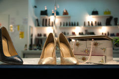 Woman shoes shop. With shinny new items Royalty Free Stock Photography