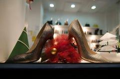 Woman shoes shop. Window on christmas season Royalty Free Stock Image