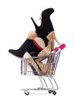 Woman shoes in shopping cart on the white Stock Photos