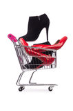 Woman shoes in shopping cart Royalty Free Stock Image