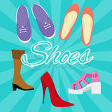 Woman shoes vector set illustration in flat style high heels boots sneaker from top Stock Images