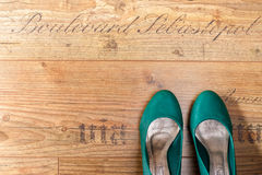 Woman shoes view from above. Woman's elegant shoes view from above on wood floor Royalty Free Stock Images