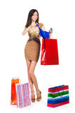 Woman shooping. Young smiling woman with a shop bags Stock Image