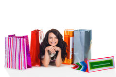 Woman shooping. Young smiling woman with a shop bags Stock Images