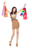 Woman shooping. Young smiling woman with a shop bags Royalty Free Stock Photo
