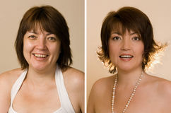 Woman before and after shooting Stock Images