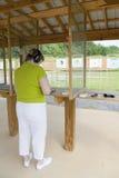 Woman At The shooting Range Royalty Free Stock Photos