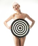 Woman with shooting target Royalty Free Stock Image