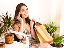 Woman in shop . Royalty Free Stock Images