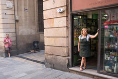 Woman in shop, Barcelona, Spain Royalty Free Stock Photography