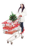 Woman shop for Christmas sale-isolated in white Royalty Free Stock Photos