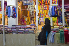 Woman in a shop in Oman Royalty Free Stock Images
