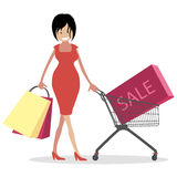 Woman shopaholic. Girl with bags and shopping carts on sale. Character vector illustration people. Woman shopaholic. Girl with bags shopping carts on sale vector illustration