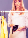 Woman with shopaholic problems. Stock Photo